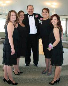 Fausto Peralta with his daughters L to R: Shelley, Valerie, Sandra, Kimberley