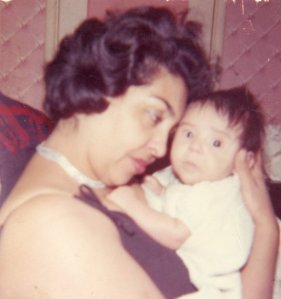With mom on the day of my baptism ca. 1964 (Garcia Family photo)