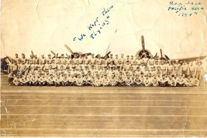 My dad is somewhere in the first row of this photo taken aboard the USS Wasp in 1944.  The handwritten notes are my dad's (Garcia family photo)