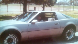 Sandra sitting in her 1984 Firebird across the street from Welch Park (Peralta Family Photo)