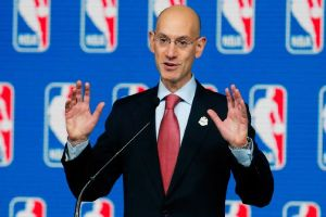 NBA Commissioner Adam Silver announcing lifetime ban on Los Angeles Clippers owner (photo by espn.go.com)