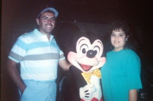 The newlyweds hanging out with Mickey during the summer of 1991 (Eddie & Sandra García Family photo)