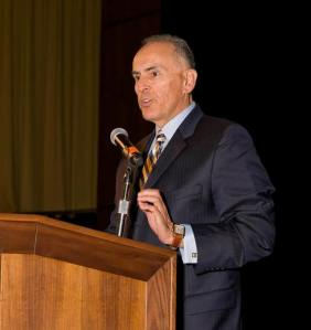 Delivering the keynote address at the annual Mathematics, Engineering, Science, Achievement Awards Dinner at San Jose State University (photo courtesy of SJSU)