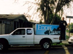 Campaigning for city council from the back of a pick-up truck in 2000. (Photo Courtesy of Patricia Rocha Malone)