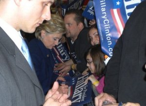 Marisa and Erica get Sen. Hillary Clinton's autograph at a 2008 rally in San Jose. (Sandra & Eddie García family photo)