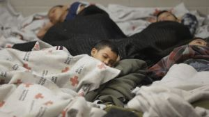 Children sleeping in a detention center at the border (photo courtesy of latino.foxnews.com)